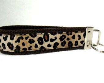 Cheetah Key Chain Key Fob BROWN Wristlet