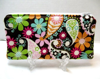Paisley Zippered Pouch - Whimsical Floral Padded Pouch - Floral Gadget Case