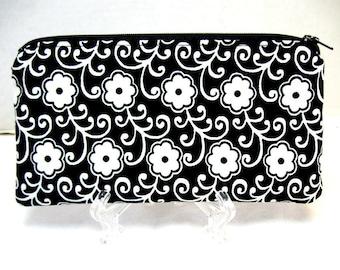 Flowers Zipper Pouch - Black White Simple - Floral Cash Holder - Small Gadget Case