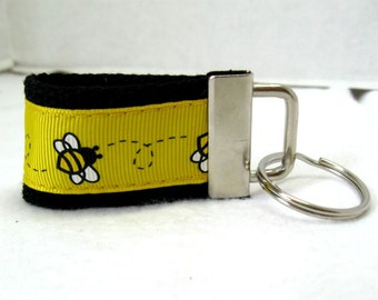 Bee Mini Key Fob -  Bumble Bees Key Ring - Yellow Black Key Chain - Bee Zipper Pull