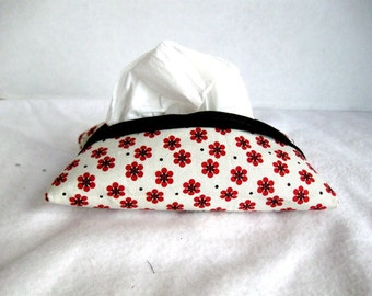 Floral Tissue Cozy - Red Black Tissue Holder - Pocket Tissue Cover- Tiny Red Flowers