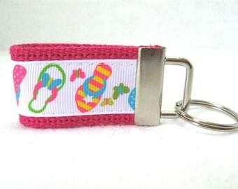 Flip Flop Key Fob - PINK Keychain - Summer Key Ring - Beach Key Chain - Flip Flops Zipper Pull - Shoes  Keychain