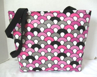 Geometric Tote - Large Modern Purse - Inside Pockets - Magenta Black Grey - Padded Large Purse