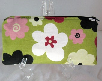 Zippered Pouch Flower - Funky Bold Fabric Case - Floral Cash Envelope - Zip Coupon Holder