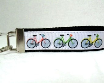 Bicycles Key Fob Black Key Chain Wristlet