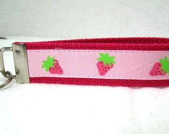 Strawberries Key Fob PINK Fruit Key Chain Wristlet