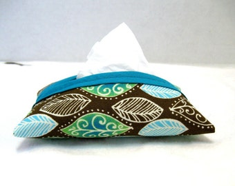 Leaf Tissue Holder Brown Turquoise Tissue Cozy
