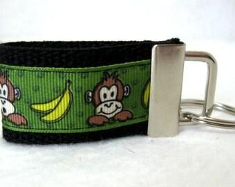 Monkey Small Key Ring - Monkey Bananas Mini Key Fob - Small Keychain - Monkey Zipper Pull