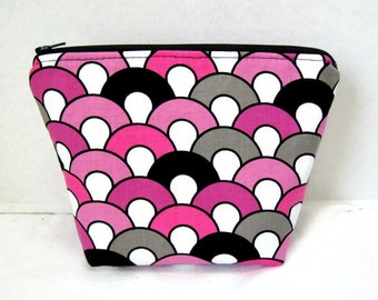Modern Cosmetic Pouch Magenta Grey Black Zippered Pouch Flat Bottom
