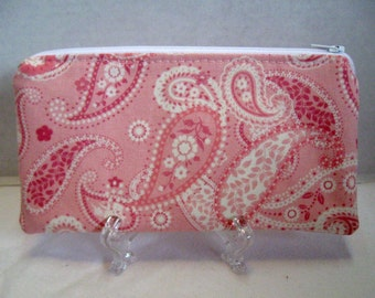 Pink Paisley Zipper Pouch - Pink Cash Holder - Paisley Make Up Bag - Fabric Gadget Pouch