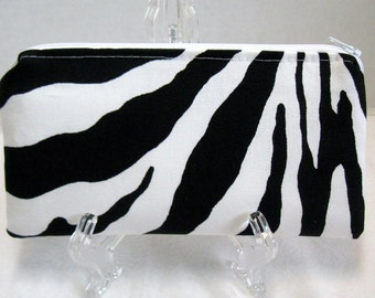 Zebra Zipper Pouch - Animal Print Make Up Bag -  Zebra Gadget Case - Zebra Money Holder