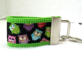 Mini Owl Key Fob - LIME  Key Chain - Owl Zipper Pull - Owls on Lime - Backpack Identifier - Owls Key Ring
