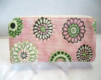 Floral Zippered Pouch - Pink Grey Medallion Zip Pouch - Tracy Porter Fabric - Fabric Cash Holder