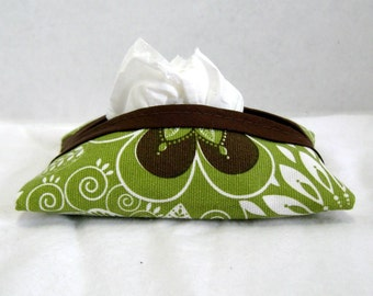 Tissue Cozy Flowers Olive Brown White Tissue Holder Case