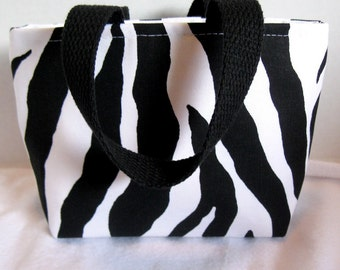 Mini Zebra Tote - Small Animal Print Purse - Black White Zebra Gift Bag