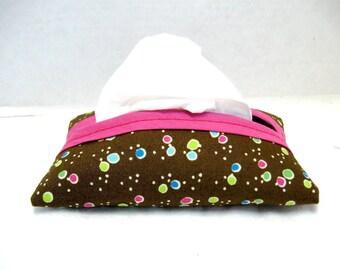 Dots Tissue Holder - Pink Brown Tissue Cozy - Pocket Tissue Case