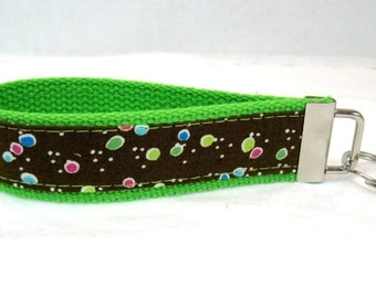 HALF OFF Dots Keychain LIME Key Fob Fabric Wristlet - Discontinued