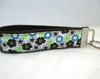 Floral Keychain Tiny Flowers Key Chain Wristlet Key Fob