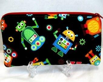 Zippered Pouch Robots - Black Padded Gadget Case - Robot Zip Pouch