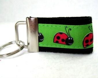 HALF OFF - Ladybug Mini Key Fob - Ladybugs Key Chain - Small Keychain - Bug Zipper Pull - Handmade Key Ring