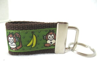 Mini Key Fob Monkey - Monkey Small Key Ring - Bananas Keychain - Kids Zipper Pull - Monkeys on BROWN