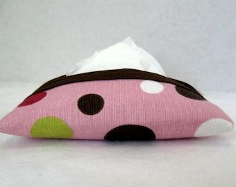 Dots Tissue Holder Pink Pocket Tissue Cozy