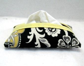 Paisley Tissue Holder Black Yellow Pocket Size