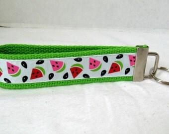 Watermelon Key Fob -  LIME Green- Fruit Key Chain- Summer Wristlet