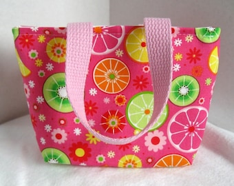 Mini Purse Fruit Slices - Tiny Tote Citrus - Pink Fabric Gift Bag - Orange Lemon Lime Slices