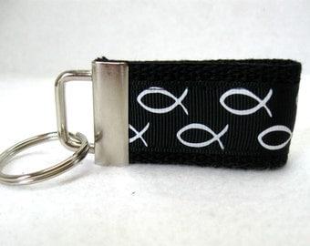 Christian Mini Key Fob -Religious Small Keychain -  BLACK White Key Chain - Christian Fish Key Ring - Handmade Key Chain - Zipper Pull