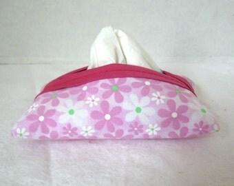 Pocket Tissue Holder Flowers Pink Lime
