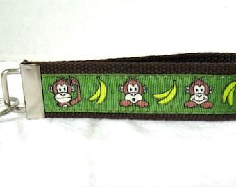 Monkey Key Chain Key Fob BROWN Wristlet