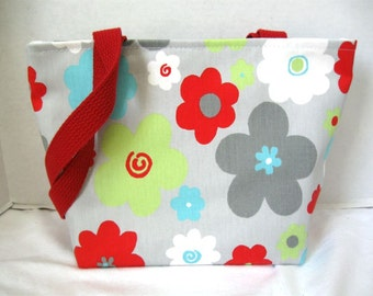 Floral Medium Purse - Bold Flowers Tote - Red Turquoise Lime Handbag