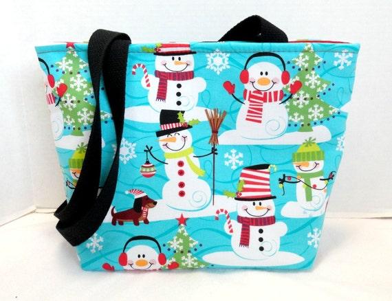 Dachshund snowman tote purse medium christmas wiener dogs made for Snowman pocket tissues