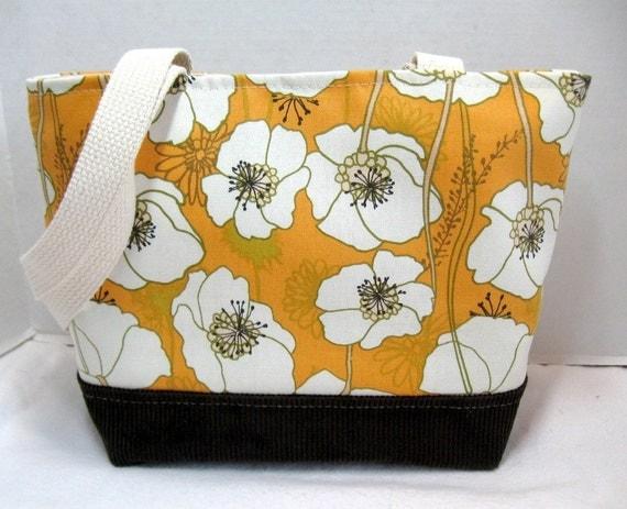Poppy Medium Purse Brown Corduroy Bottom Orange Inside Pockets