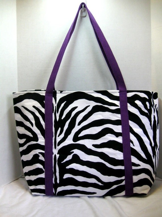 Zebra Extra Large Tote Purple Handles Inside Pockets MADE TO ORDER