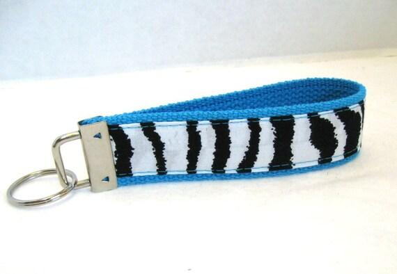 Zebra Keychain Turquoise  Animal Print Key Chain Wristlet
