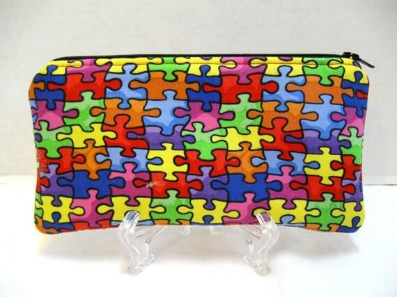Autism Zipper Pouch -  Puzzle Pieces Gadget Case - Autism Cash Holder - Autism Support - Puzzle Padded Pouch