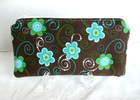 Zippered Pouch Floral Brown Turquoise Swirls