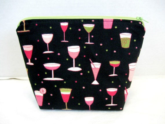 Make Up Bag Cocktails Cosmetic Zippered Pouch Happy Hour