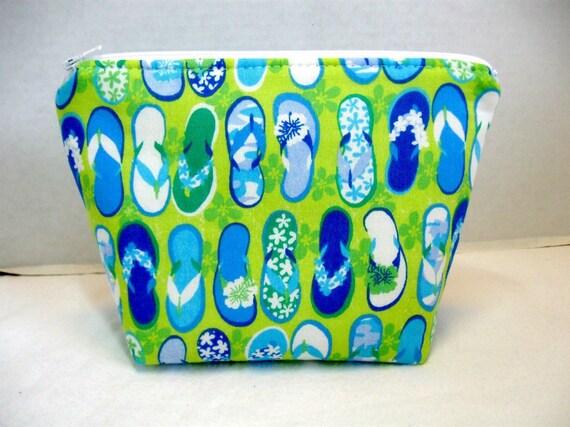 Make Up Bag Flip Flops Lime Turquoise Beach Cosmetic Bag