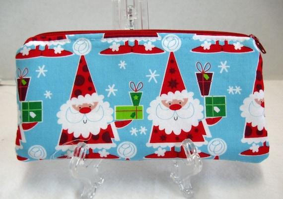 Santa Zipper Pouch - Christmas Cash Holder - Christmas Receipt Keeper - Padded Santa Pouch