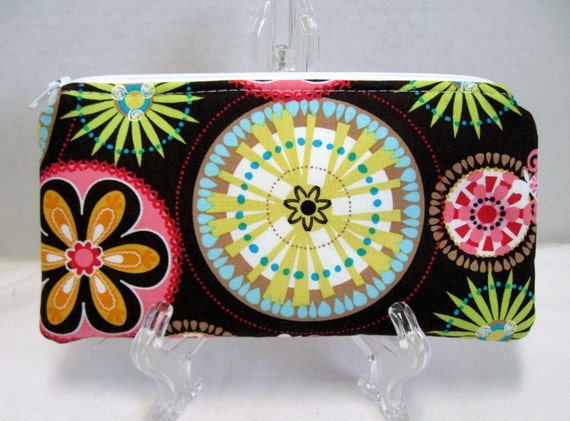 Floral Zippered Pouch -  Carnival Bloom Zip Case - Brown Pink Lime Flowers - Cash Holder