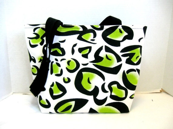 Cheetah Purse - Chartreuse Animal Print Handbag - Medium Bag Inside Pockets - Lime Leopard Tote Bag