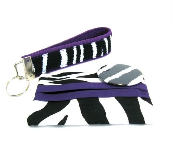 Zebra Gift Set Purple  Mirror Tissue Holder Key Fob Set