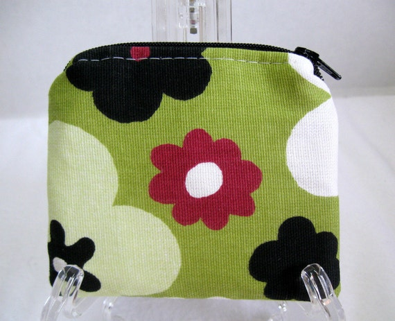 Coin Purse Flowers Zippered Bold Floral Pouch