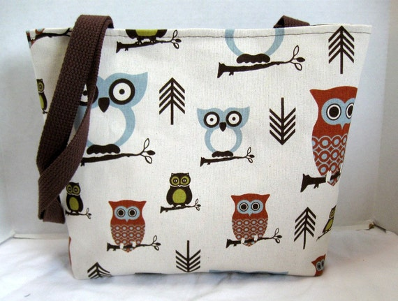 Large Purse Tote Owls Brown Olive 4 Pockets MADE TO ORDER