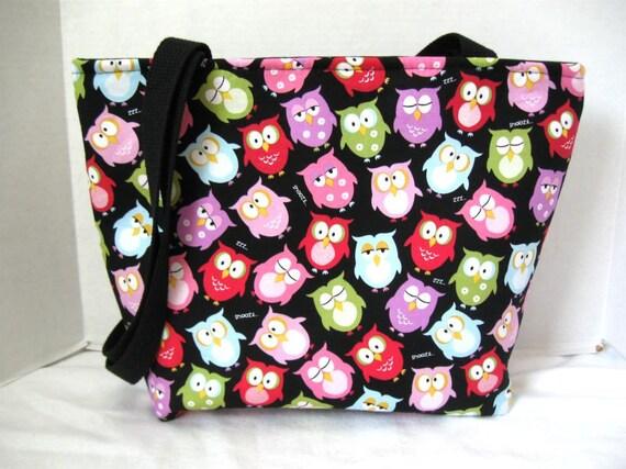 Owl Purse Large Tote Inside Pockets Black
