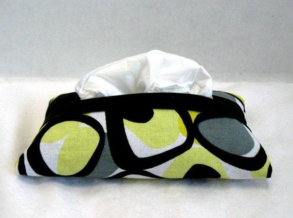 Tissue Holder Travel Size Modern Yellow Black Grey