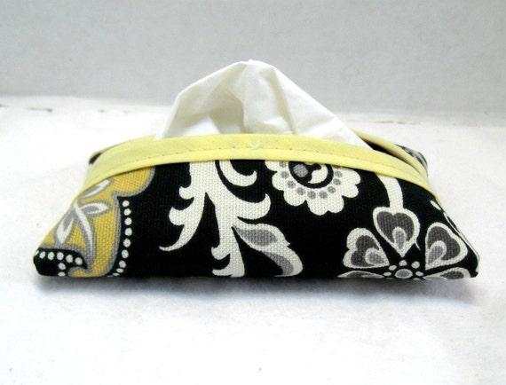 Paisley tissue holder black yellow pocket size for Snowman pocket tissues